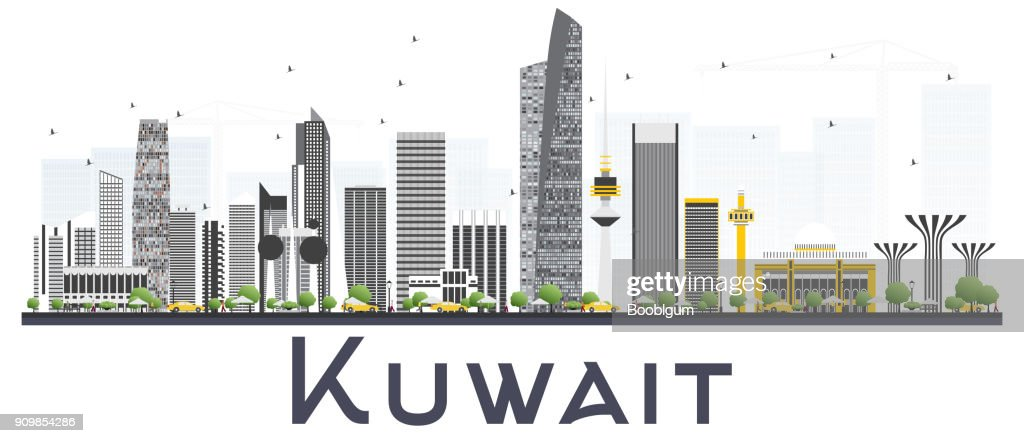 Kuwait City Skyline with Gray Buildings Isolated on White Background.