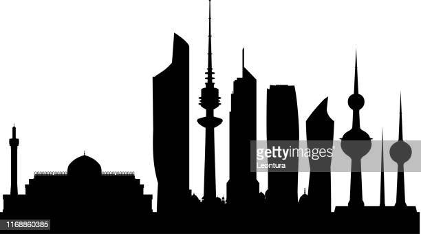 kuwait city (all buildings are complete and moveable) - kuwait stock illustrations, clip art, cartoons, & icons