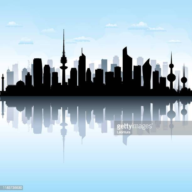 kuwait city (all buildings are complete and moveable) - kuwait stock illustrations
