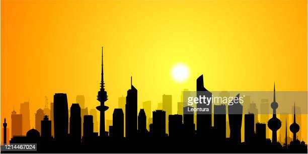 kuwait city (all buildings are complete and moveable) - persian gulf countries stock illustrations