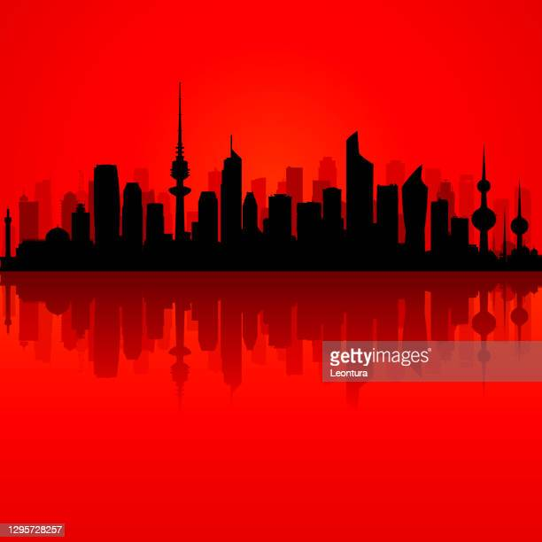 kuwait city (all buildings are complete and moveable) - kuwait city stock illustrations