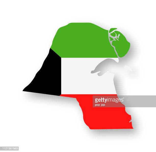 kuwait - contour country flag vector flat icon - kuwait stock illustrations, clip art, cartoons, & icons