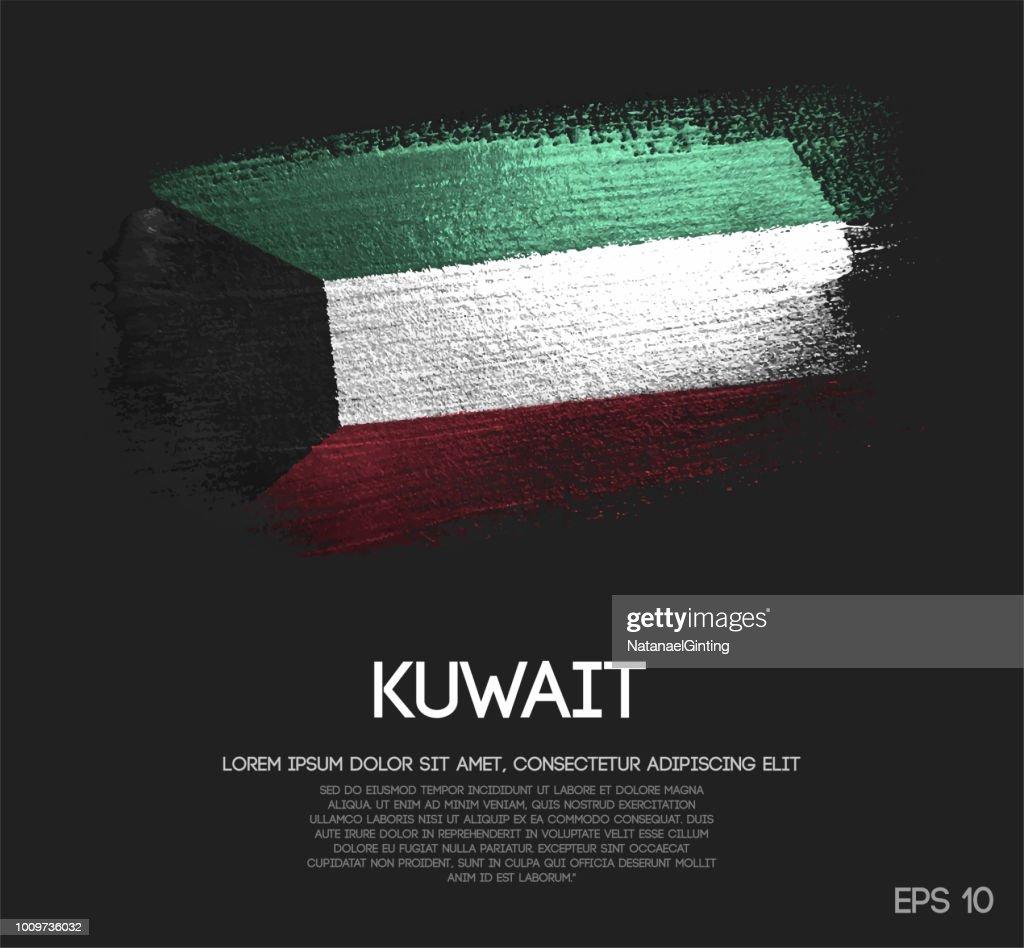 Kuwait Flag Made of Glitter Sparkle Brush Paint Vector