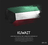 Kuwait Flag Made of Glitter Sparkle Brush Paint Vector
