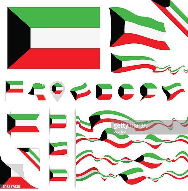 kuwait flag set - kuwait stock illustrations, clip art, cartoons, & icons