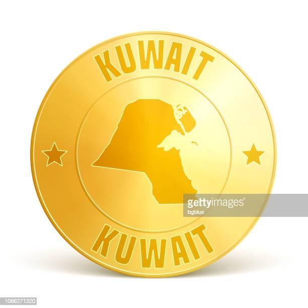 kuwait - gold coin on white background - kuwait stock illustrations, clip art, cartoons, & icons