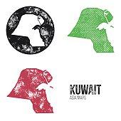 Kuwait Grunge Retro Maps - Asia