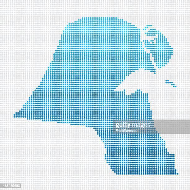 kuwait map blue dot pattern - kuwait stock illustrations, clip art, cartoons, & icons