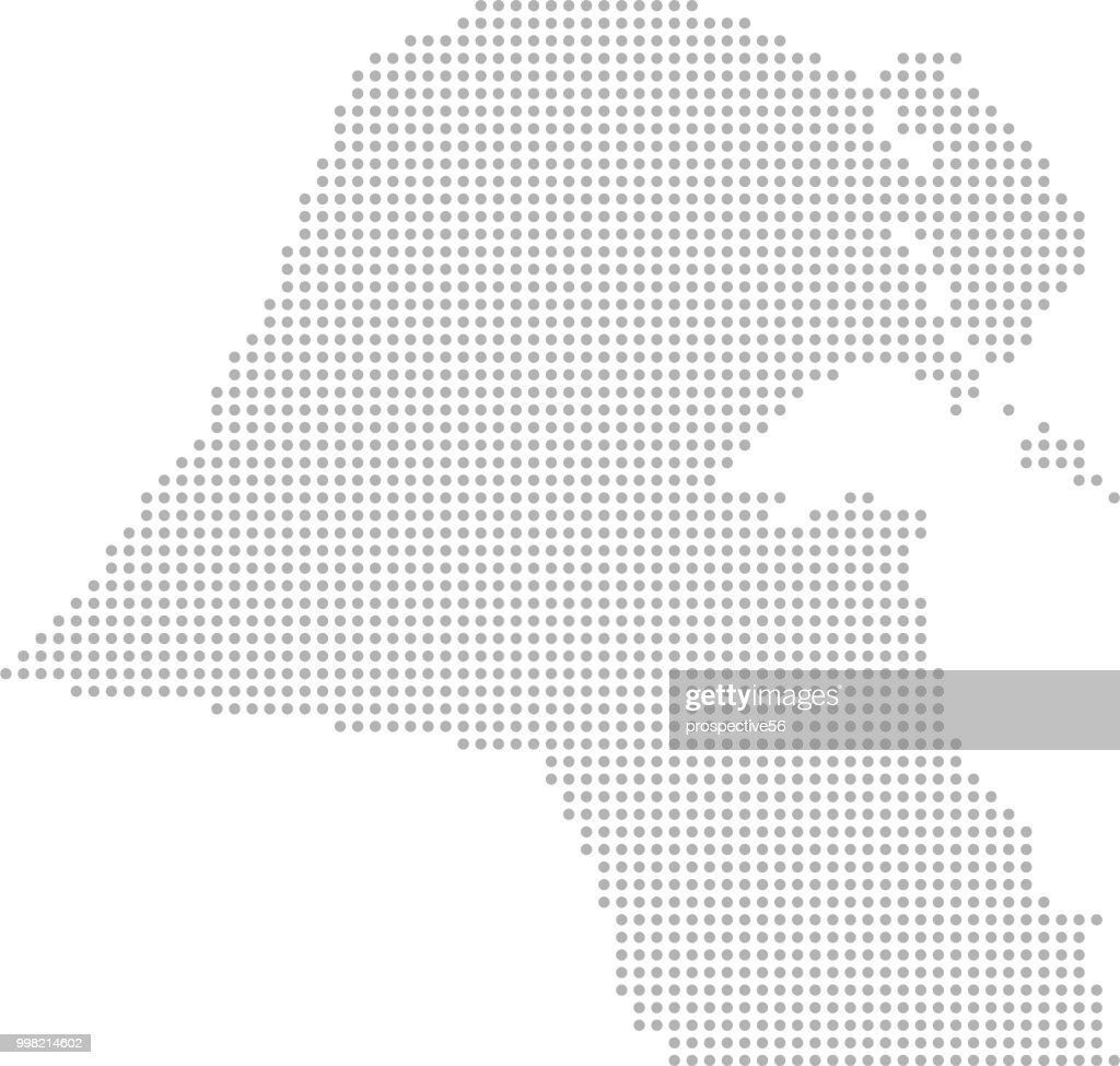 Kuwait map dots vector outline, dotted map, point patterns map faded gray background image art
