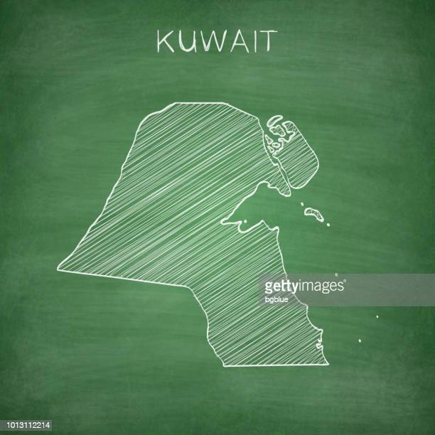 kuwait map drawn on chalkboard - blackboard - kuwait stock illustrations, clip art, cartoons, & icons
