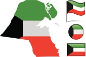 Kuwait map & flag