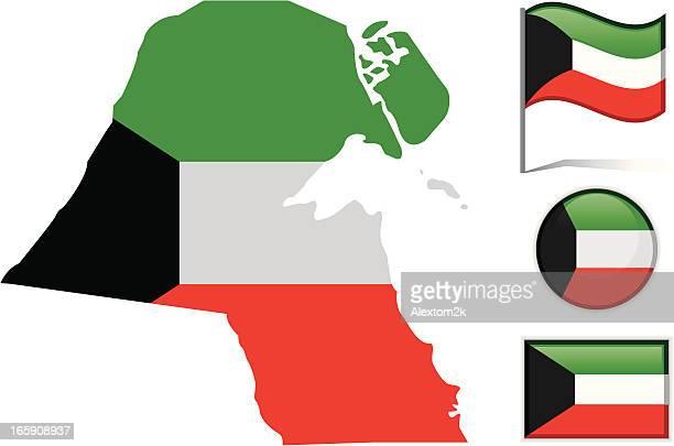 kuwait map & flag - kuwait stock illustrations, clip art, cartoons, & icons