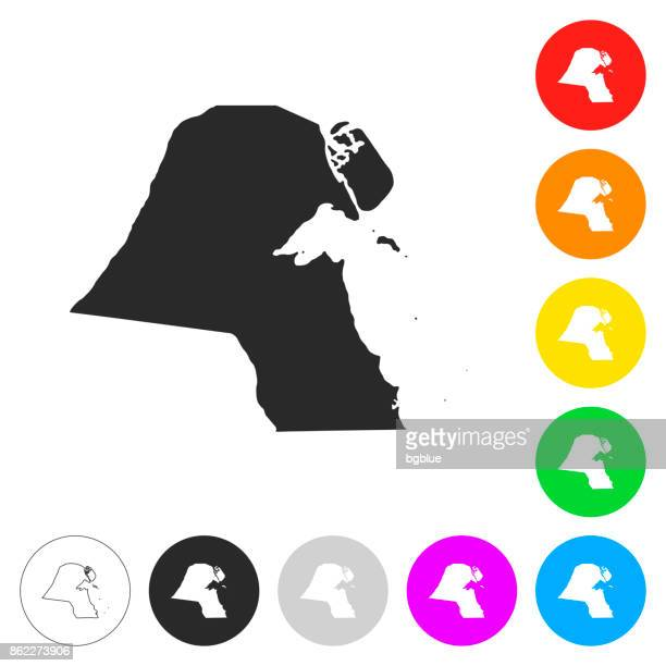 kuwait map - flat icons on different color buttons - kuwait stock illustrations, clip art, cartoons, & icons