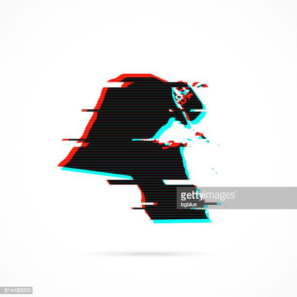 kuwait map in distorted glitch style. modern trendy effect - kuwait stock illustrations, clip art, cartoons, & icons