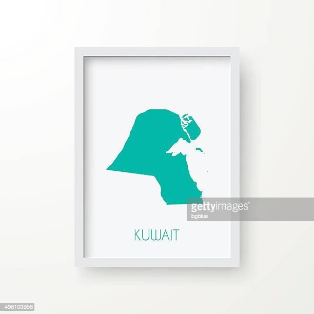 kuwait map in frame on white background - kuwait stock illustrations, clip art, cartoons, & icons