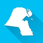 Kuwait Map on Blue Background, Long Shadow, Flat Design