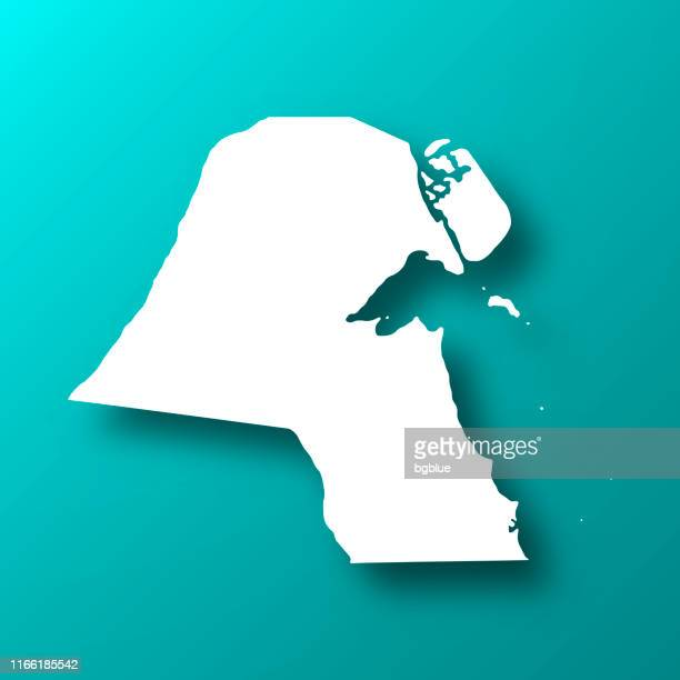 kuwait map on blue green background with shadow - kuwait city stock illustrations