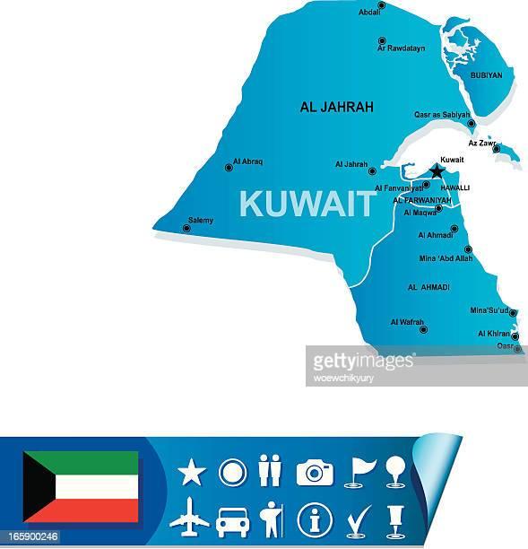 kuwait map - kuwait stock illustrations, clip art, cartoons, & icons