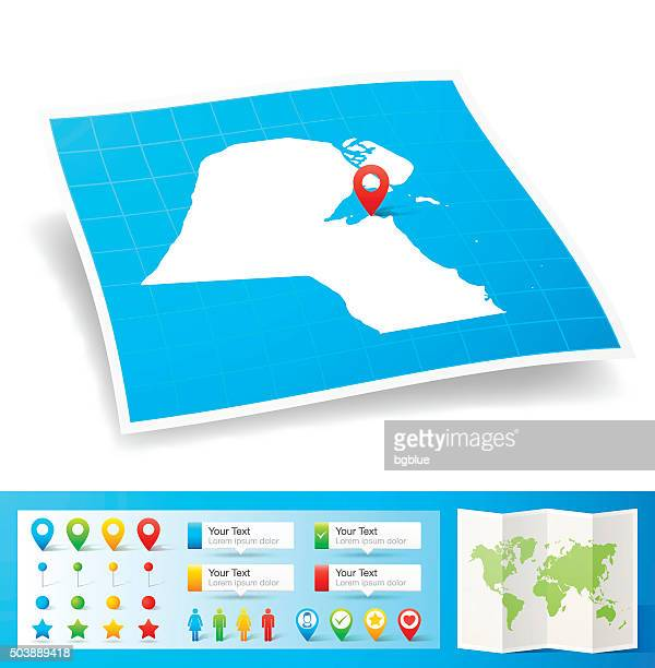 kuwait map with location pins isolated on white background - kuwait stock illustrations, clip art, cartoons, & icons