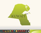 Kuwait map with navigation icons
