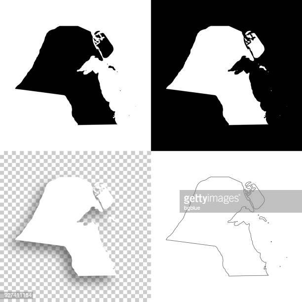 kuwait maps for design - blank, white and black backgrounds - kuwait stock illustrations, clip art, cartoons, & icons