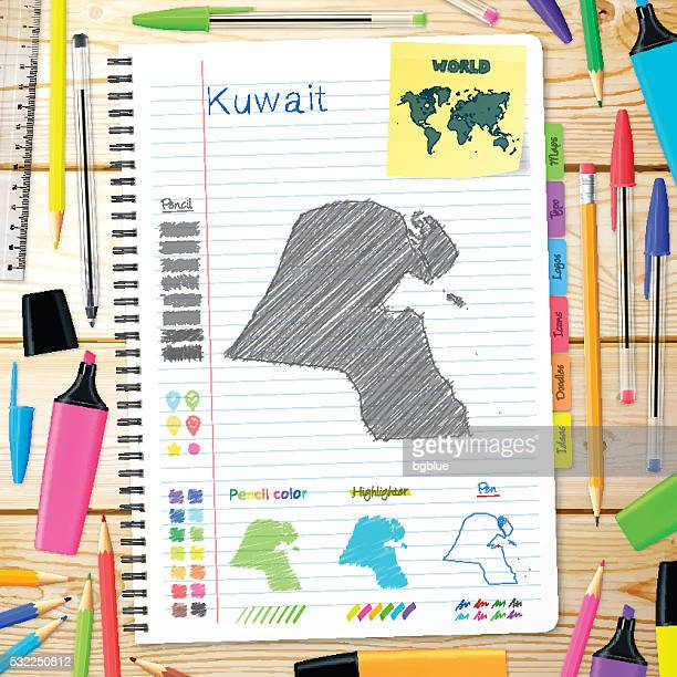 kuwait maps hand drawn on notebook. wooden background - kuwait stock illustrations, clip art, cartoons, & icons