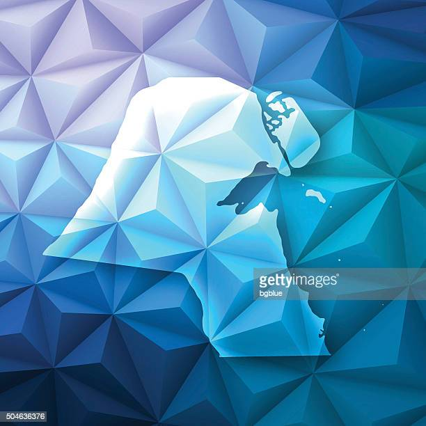 kuwait on abstract polygonal background - low poly, geometric - kuwait stock illustrations, clip art, cartoons, & icons