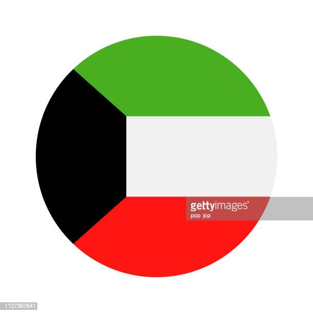 kuwait - round flag vector flat icon - kuwait stock illustrations, clip art, cartoons, & icons
