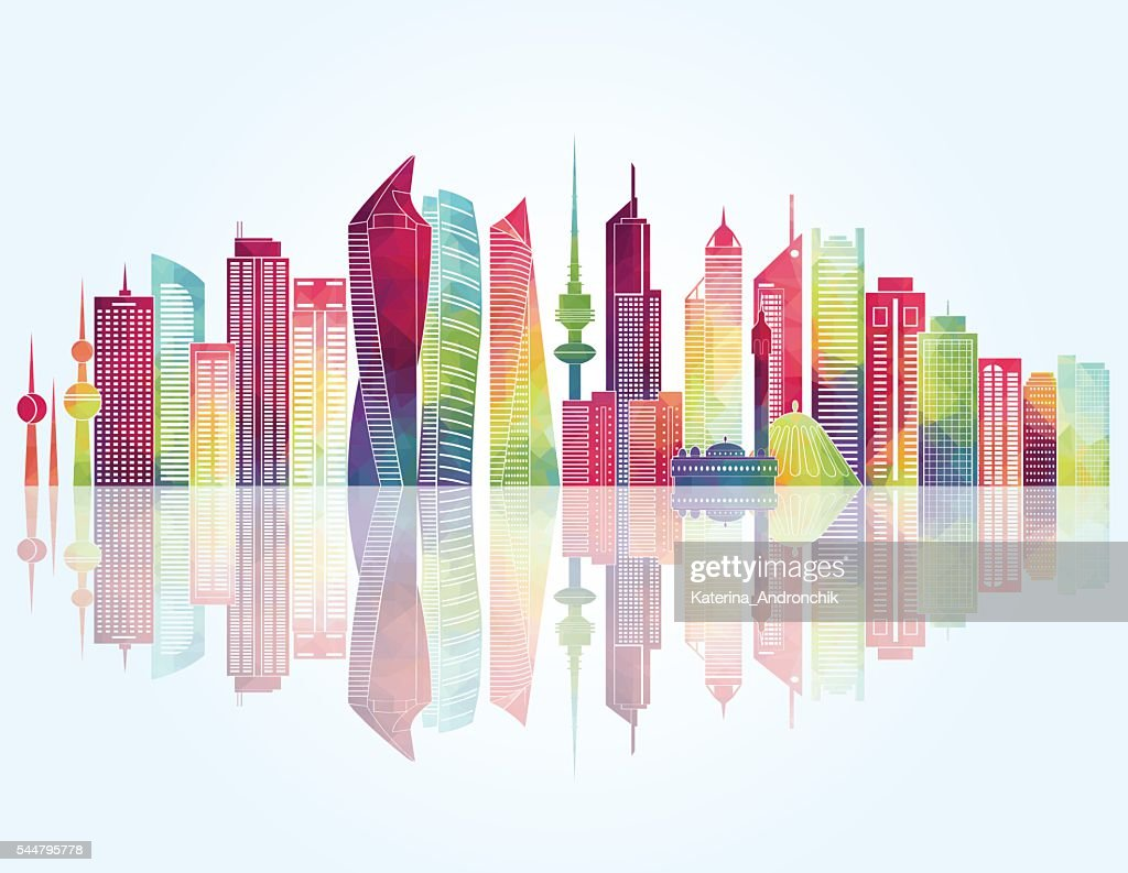 Kuwait skyline. Vector illustration