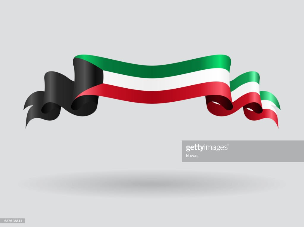 Kuwait wavy flag. Vector illustration.
