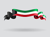 Kuwait wavy flag. Vector illustration.