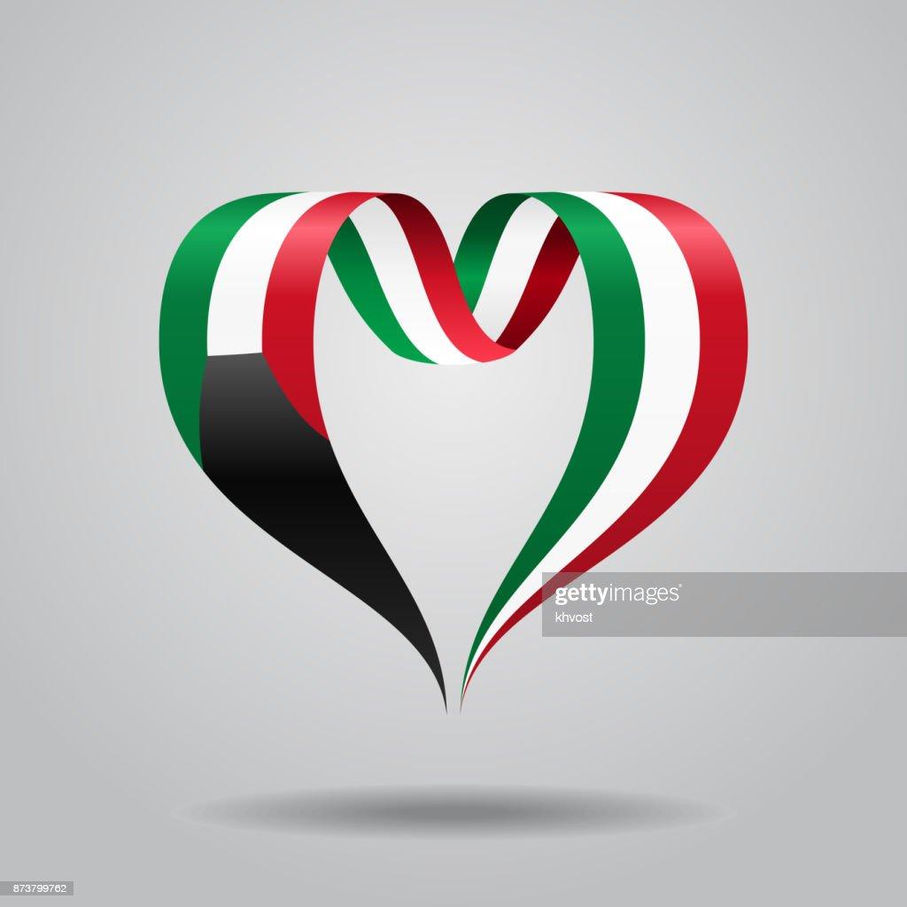 Kuwaiti flag heart-shaped ribbon. Vector illustration.