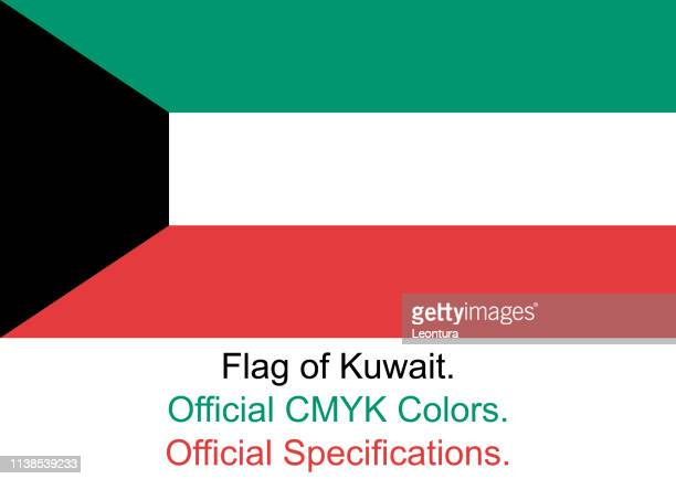 kuwaiti flag (official cmyk colours, official specifications) - kuwait stock illustrations, clip art, cartoons, & icons