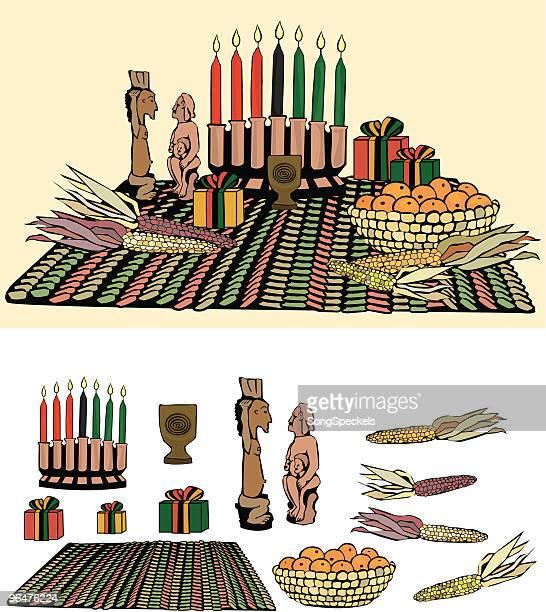 kwanzaa arrangement - kwanzaa stock illustrations, clip art, cartoons, & icons