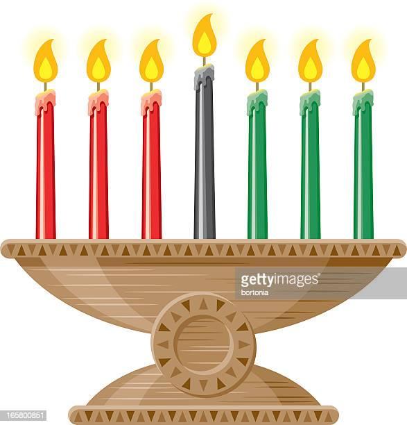 kwanzaa candles (mishumaa saba) - kwanzaa stock illustrations, clip art, cartoons, & icons