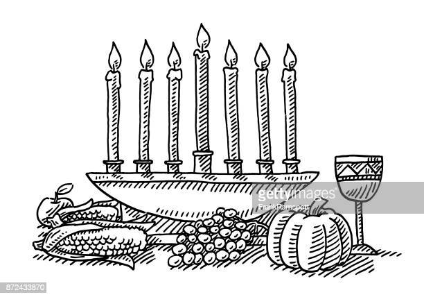 kwanzaa festival candles symbol drawing - candlestick holder stock illustrations