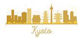 Kyoto City skyline golden silhouette.
