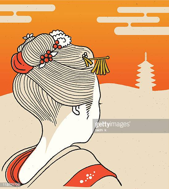 kyoto geisha girl - only japanese stock illustrations, clip art, cartoons, & icons