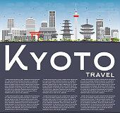 Kyoto Skyline with Gray Landmarks, Blue Sky and Copy Space.