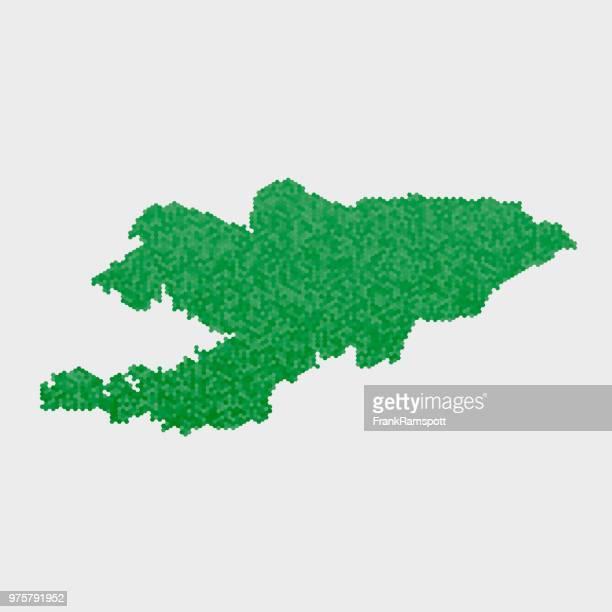 Kirgisistan Land Map grünen Sechseck-Muster