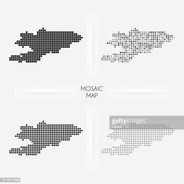 stockillustraties, clipart, cartoons en iconen met kyrgyzstan maps - mosaic squarred and dotted - kirgizië
