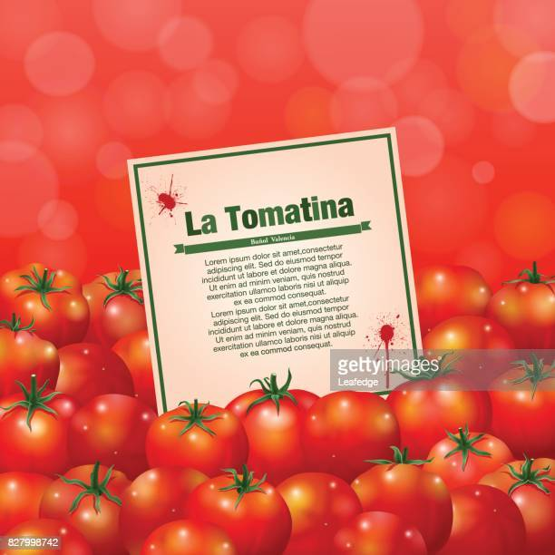 la tomatina hintergrund [eine karte und tomaten] - valencia spain stock-grafiken, -clipart, -cartoons und -symbole
