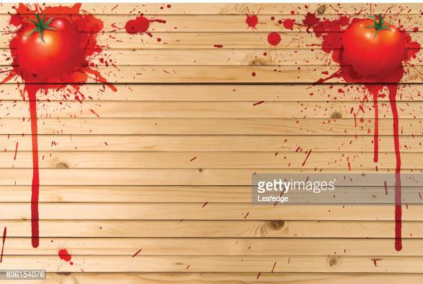 la tomatina hintergrund [board auf die tomaten] - valencia spain stock-grafiken, -clipart, -cartoons und -symbole