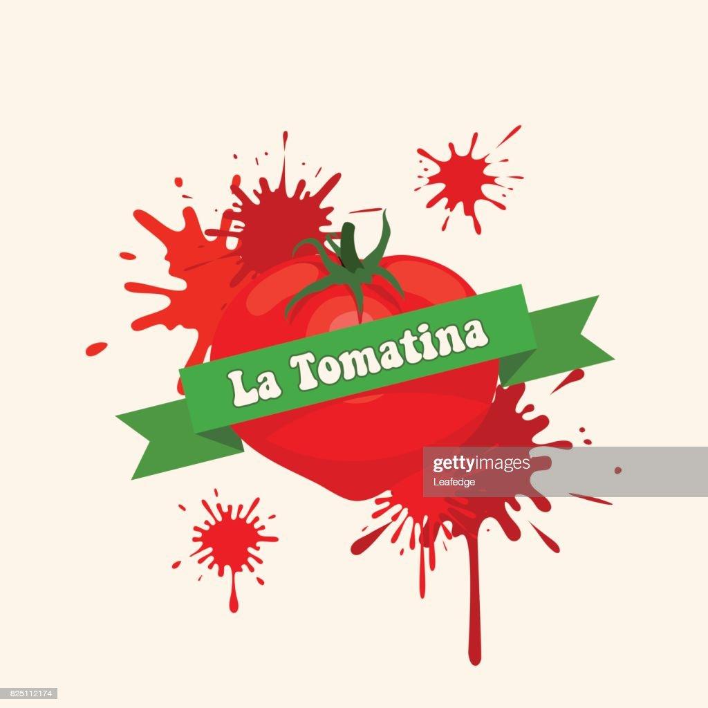 La Tomatina background [Bursting a tomato] : stock illustration