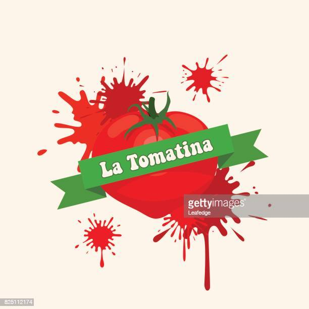 la tomatina background [bursting a tomato] - comunidad autonoma de valencia stock illustrations