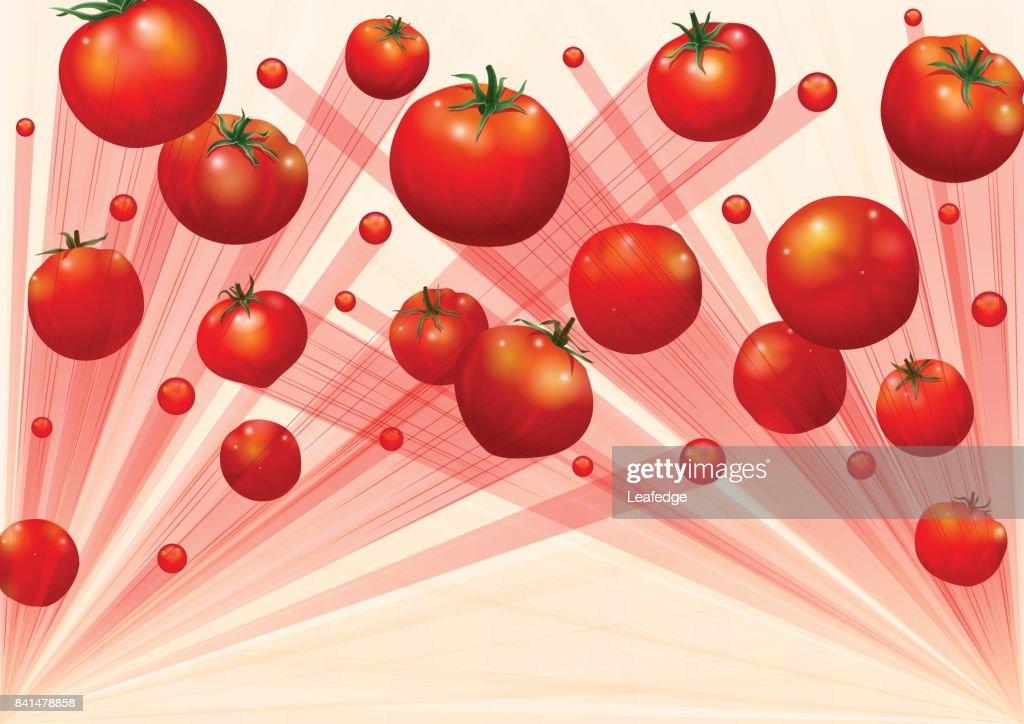 La Tomatina background [Flying the tomatos] : stock illustration