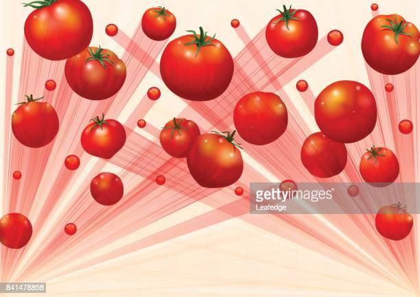 la tomatina background [flying the tomatos] - comunidad autonoma de valencia stock illustrations