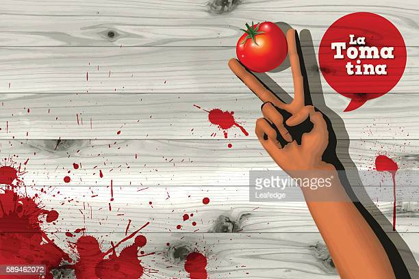 La Tomatina background [Handsign and a tomato]