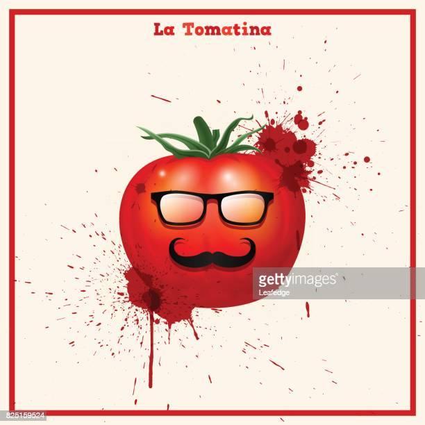 la tomatina hintergrund [hipster tomate] - valencia spain stock-grafiken, -clipart, -cartoons und -symbole
