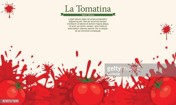 la tomatina background [splashing tomatos] - comunidad autonoma de valencia stock illustrations